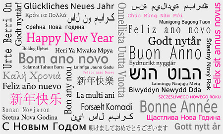 New Year background with wishes in different languages