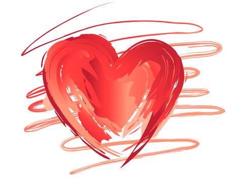 Brush painted heart vector image