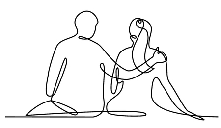 Lovers one line drawing art