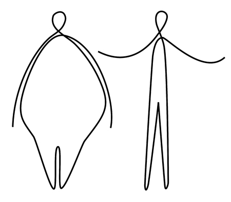 Slim and fat one line drawing
