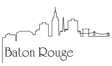 Baton Rouge city one line drawing abstract