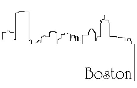 Boston city skyline line drawing abstract