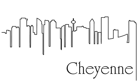 Cheyenne city one line drawing.