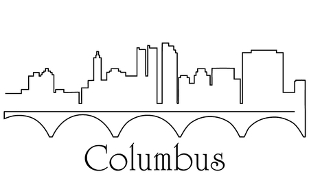 Columbus city one line drawing abstract