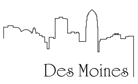 Des Moines city skyline drawing abstract