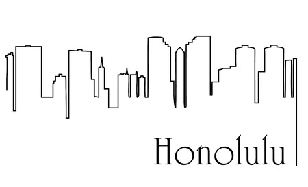 Honolulu city one line drawing.