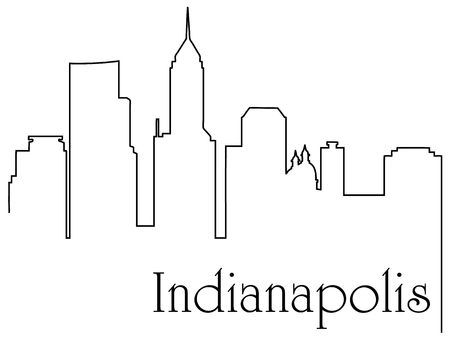 Indianapolis city one line drawing abstract