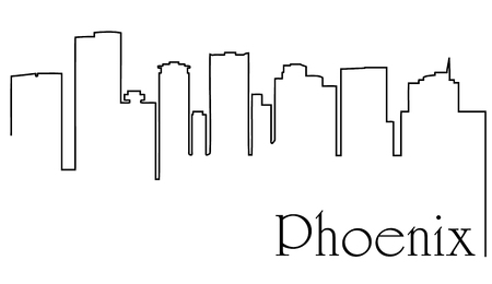 Phoenix city skyline line drawing abstract