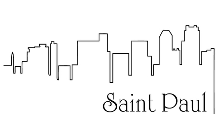 Saint Paul city one line drawing abstract