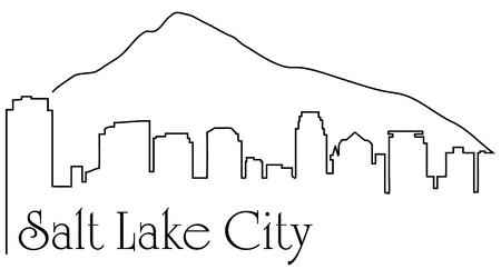 Salt Lake City one line drawing abstract