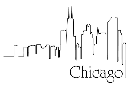Chicago city one line drawing abstract Иллюстрация