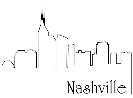 Nashville city one line drawing abstract Illustration