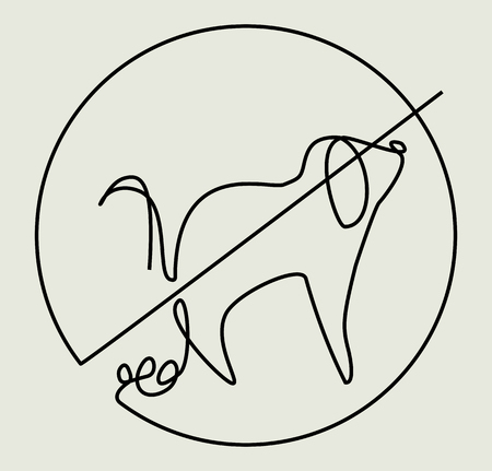 Clean up after your pet one line drawing