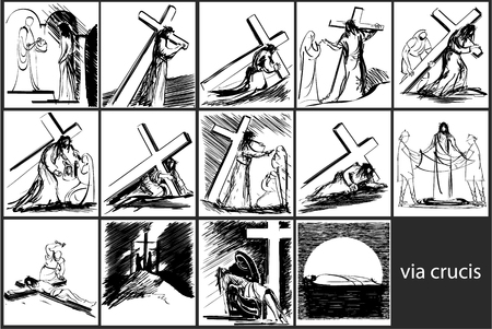 Stazioni della Via Crucis Vettoriali