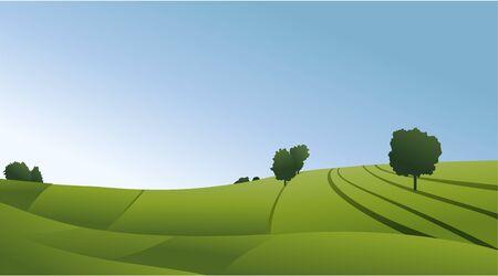 Paisaje rural con campos verdes.