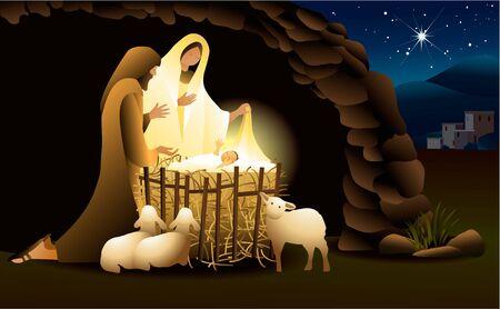 Nativity scene with Holy Family Ilustrace