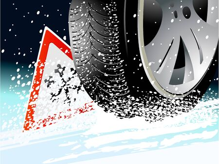 Winter background with winter tire