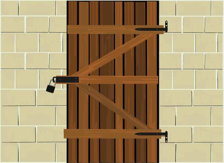 Wooden cellar door locked with a padlock  イラスト・ベクター素材