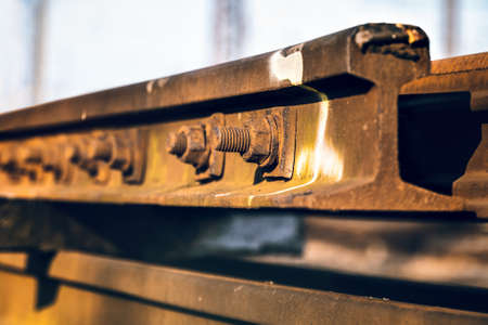 Railroad Track, Rusted Screw Stock Photo