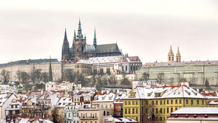 Prague Castle in Winter, one of the largest castles in the world, Most Iconic Landmark in the Czech Republic Editorial