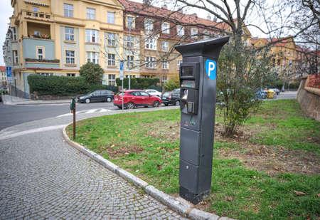 Modern European Parking Meter on City Street for Non-Residents Stock Photo