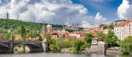 Panorama of European City with View of Lesser Town Petrin Hill, Church of St. Nicholas and Strahov Monastery, Prague, Czech Republic Reklamní fotografie