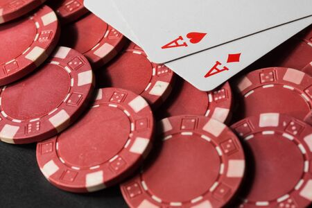 Poker chips and cards. High resolution image depicting gambling industry.