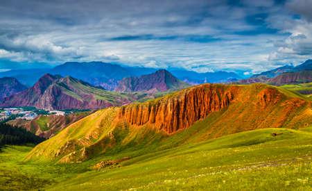 Landscape scenery view of Zhuoer mountain Stok Fotoğraf