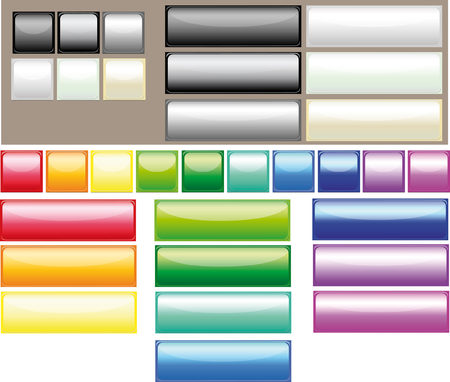 rectangle button: button all the colors of the rainbow  Illustration