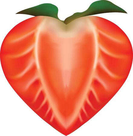 fruit heart, strawberry Vector