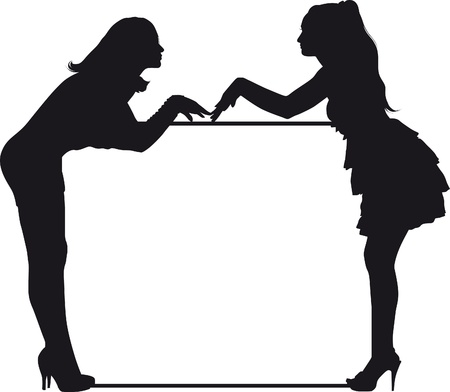 woman computer: silhouettes of two girls and a block of text for