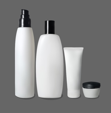 set of bottles for cosmetics Vector