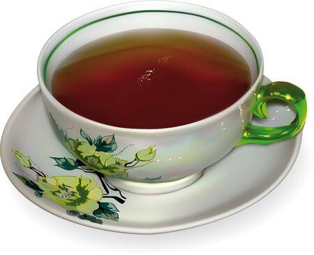 descriptive color: cup of tea in the technique of gradient mesh
