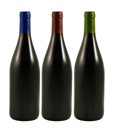 set of bottles with red wine Vector