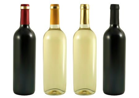 vino: et of bottles with red and white wine Illustration