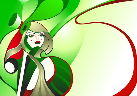 cubism: girl in a green hat, abstract background Illustration