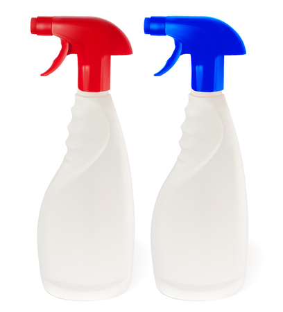 Bottle of detergent with a red and blue cap