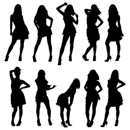 silhouettes of young girls Vector