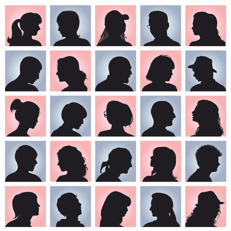 man profile: Vector set  avatars with silhouettes of people Illustration
