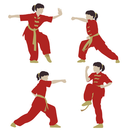 young girl in a pose of Wushu Vector