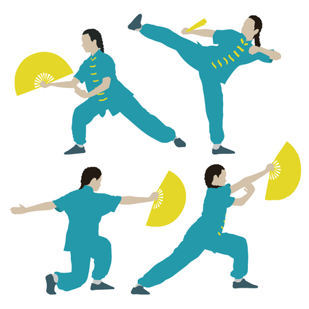 young girl in a pose of Tai Chi Chuan with fan Vector