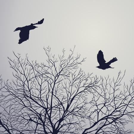 Black crow on lead sky. Vector