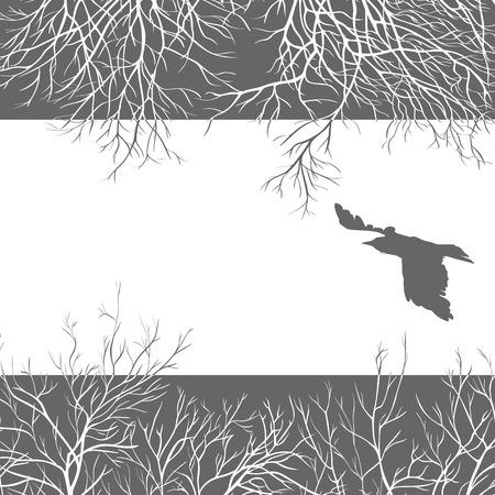 Black crow on a leaden sky Vector