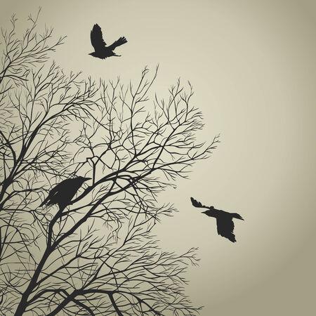 Black crow on a gold sky Vector