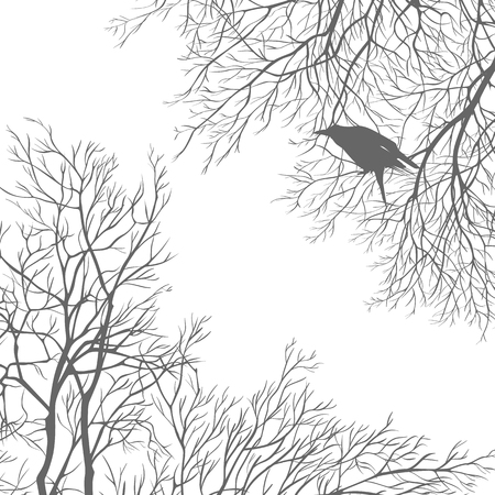 Gray crow on a tree branch Vector