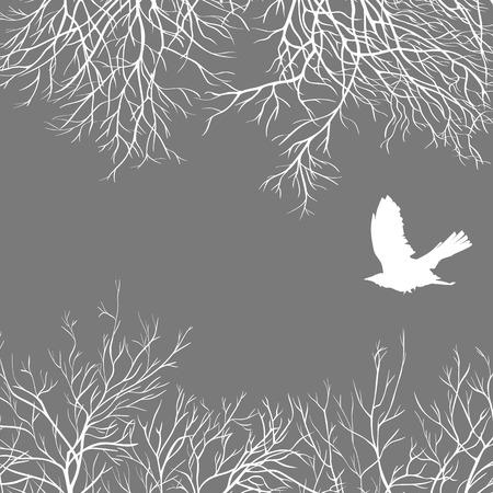 White crow on a gray sky Vector