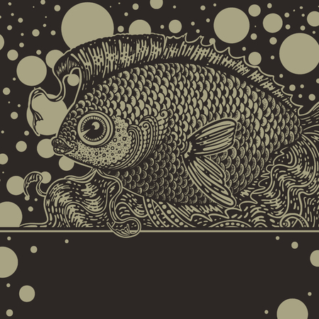 Vintage graphic fish in two colors