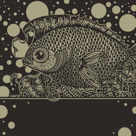 Weinlese-Grafik Fisch in zwei Farben Standard-Bild - 33111902