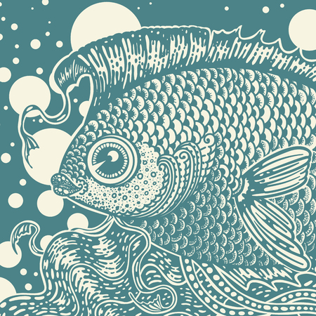 Vintage graphic fish in two colors Vector