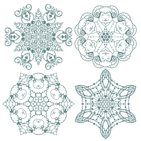 Funny doodle  snowflakes with sheep and goats Vector